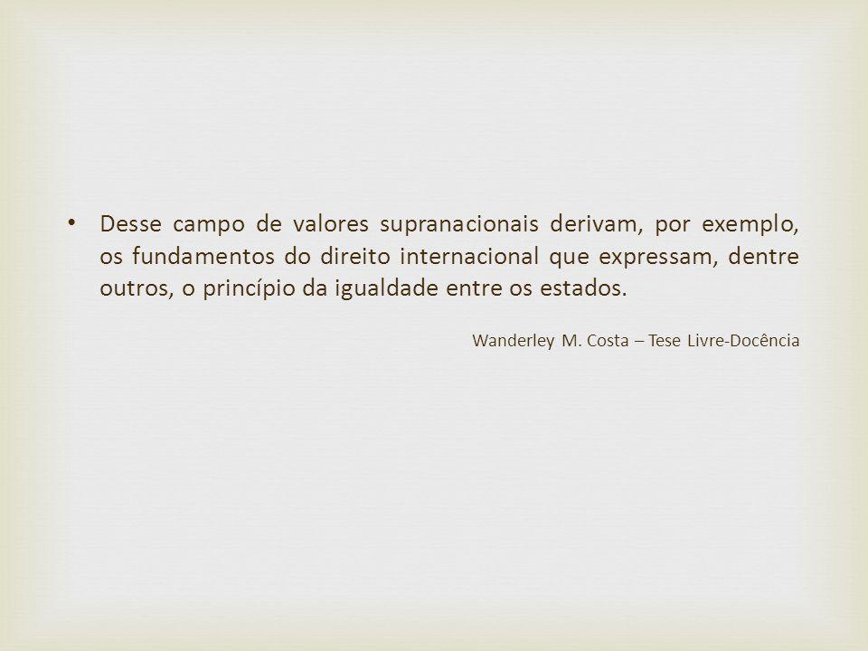 Desse campo de valores supranacionais derivam, por exemplo, os fundamentos do direito internacional que expressam, dentre outros, o princípio da igual