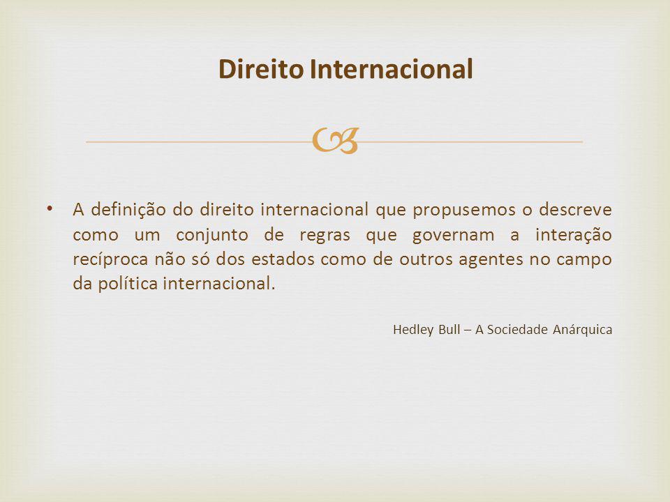 A definição do direito internacional que propusemos o descreve como um conjunto de regras que governam a interação recíproca não só dos estados como d