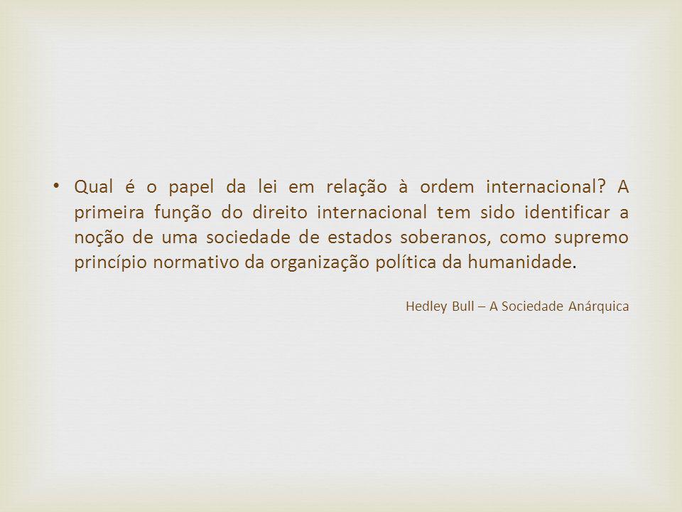 Qual é o papel da lei em relação à ordem internacional? A primeira função do direito internacional tem sido identificar a noção de uma sociedade de es