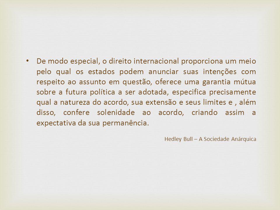 De modo especial, o direito internacional proporciona um meio pelo qual os estados podem anunciar suas intenções com respeito ao assunto em questão, o