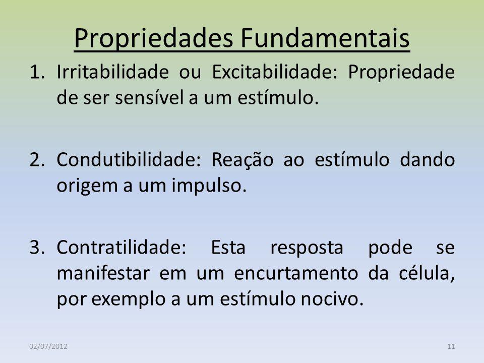 Propriedades Fundamentais 1.Irritabilidade ou Excitabilidade: Propriedade de ser sensível a um estímulo. 2.Condutibilidade: Reação ao estímulo dando o