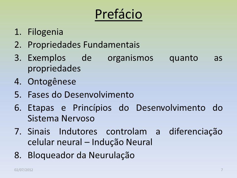 Prefácio 1.Filogenia 2.Propriedades Fundamentais 3.Exemplos de organismos quanto as propriedades 4.Ontogênese 5.Fases do Desenvolvimento 6.Etapas e Pr