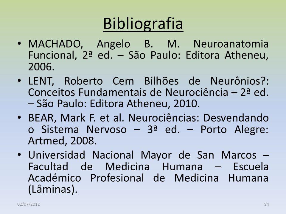 Bibliografia MACHADO, Angelo B. M. Neuroanatomia Funcional, 2ª ed. – São Paulo: Editora Atheneu, 2006. LENT, Roberto Cem Bilhões de Neurônios?: Concei