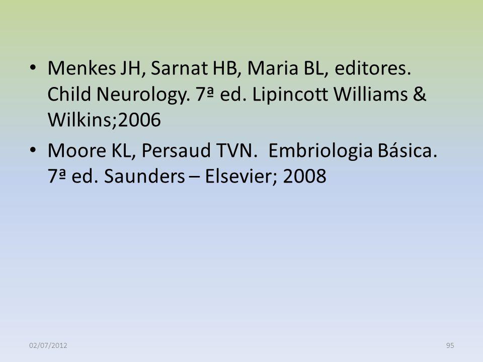 Menkes JH, Sarnat HB, Maria BL, editores. Child Neurology. 7ª ed. Lipincott Williams & Wilkins;2006 Moore KL, Persaud TVN. Embriologia Básica. 7ª ed.
