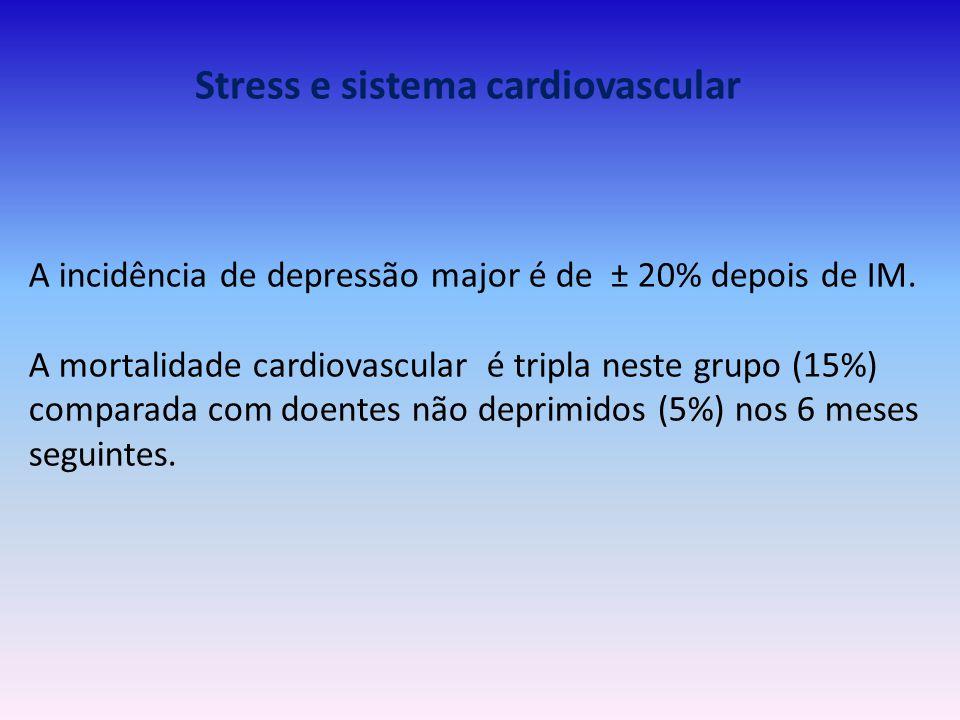 Stress e sistema cardiovascular A incidência de depressão major é de ± 20% depois de IM. A mortalidade cardiovascular é tripla neste grupo (15%) compa