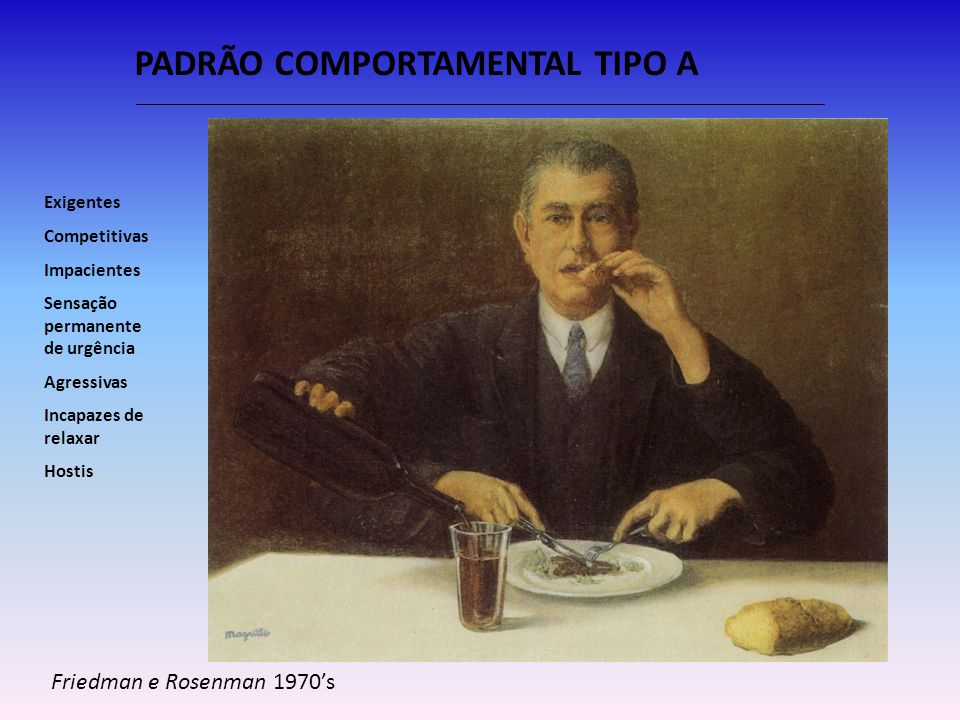 PADRÃO COMPORTAMENTAL TIPO A Friedman e Rosenman 1970s Exigentes Competitivas Impacientes Sensação permanente de urgência Agressivas Incapazes de rela