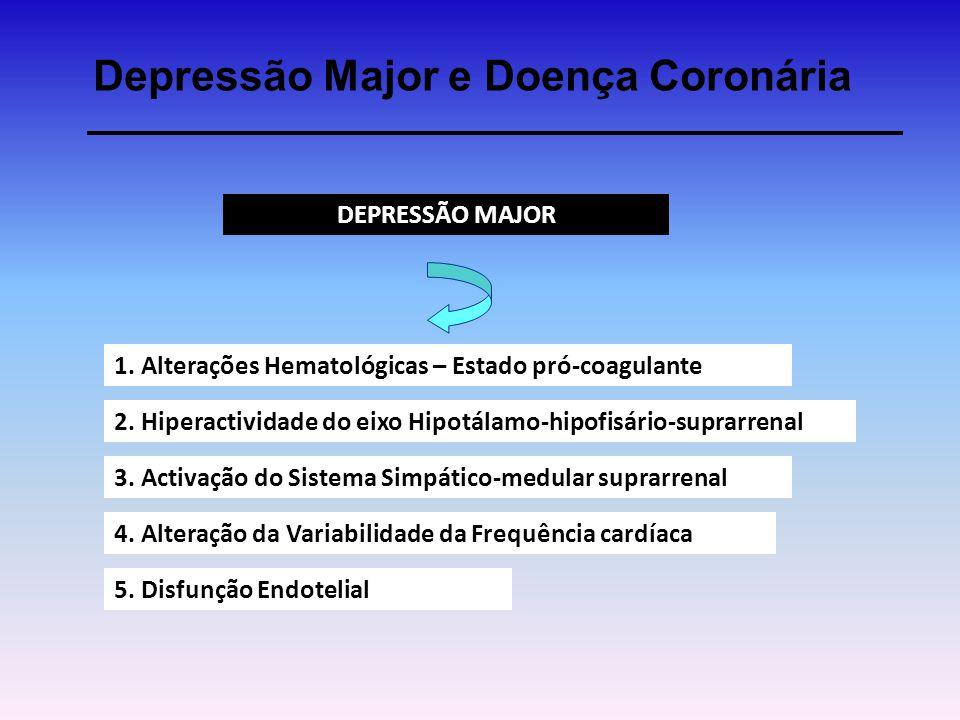 Depressão Major e Doença Coronária DEPRESSÃO MAJOR 1. Alterações Hematológicas – Estado pró-coagulante 2. Hiperactividade do eixo Hipotálamo-hipofisár