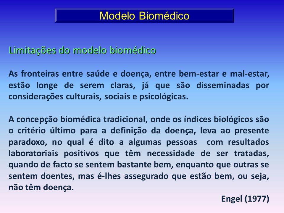 Limitações do modelo biomédico As fronteiras entre saúde e doença, entre bem-estar e mal-estar, estão longe de serem claras, já que são disseminadas p