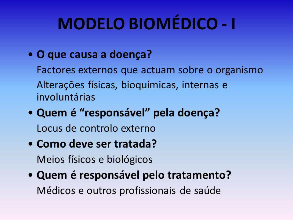 MODELO BIOMÉDICO - I O que causa a doença? Factores externos que actuam sobre o organismo Alterações físicas, bioquímicas, internas e involuntárias Qu