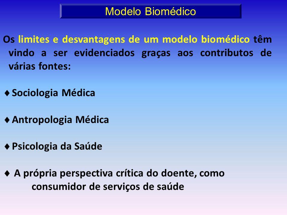 Os limites e desvantagens de um modelo biomédico têm vindo a ser evidenciados graças aos contributos de várias fontes: Sociologia Médica Antropologia