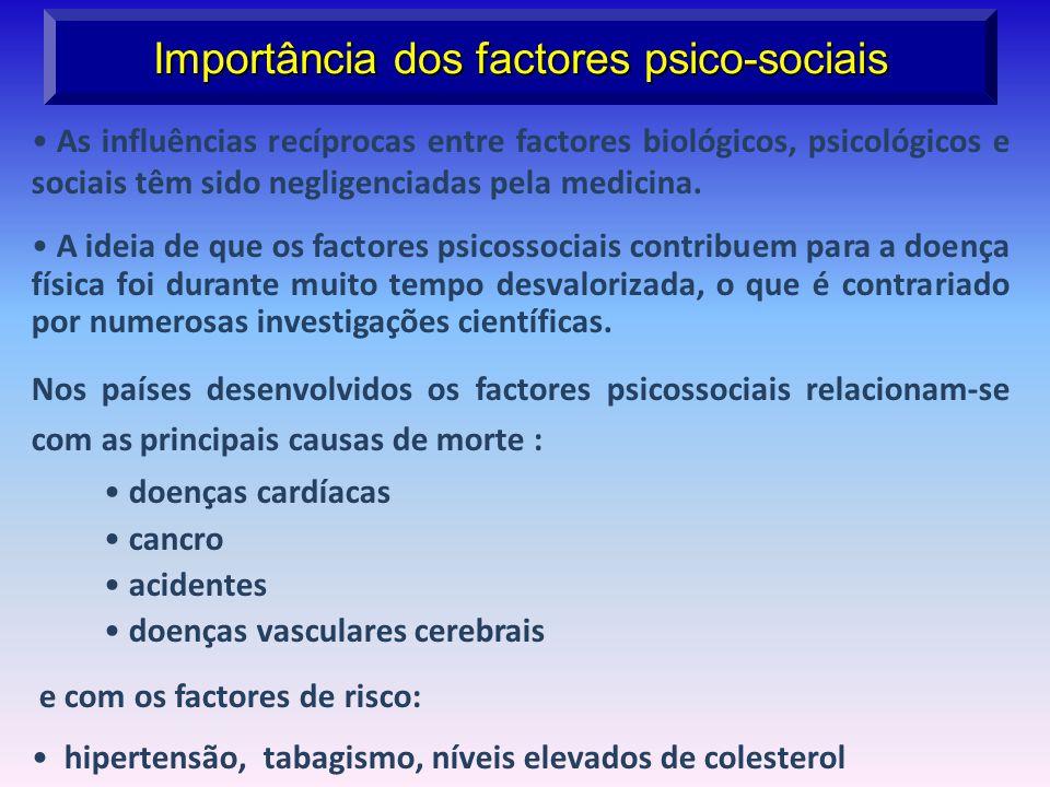 Importância dos factores psico-sociais As influências recíprocas entre factores biológicos, psicológicos e sociais têm sido negligenciadas pela medici