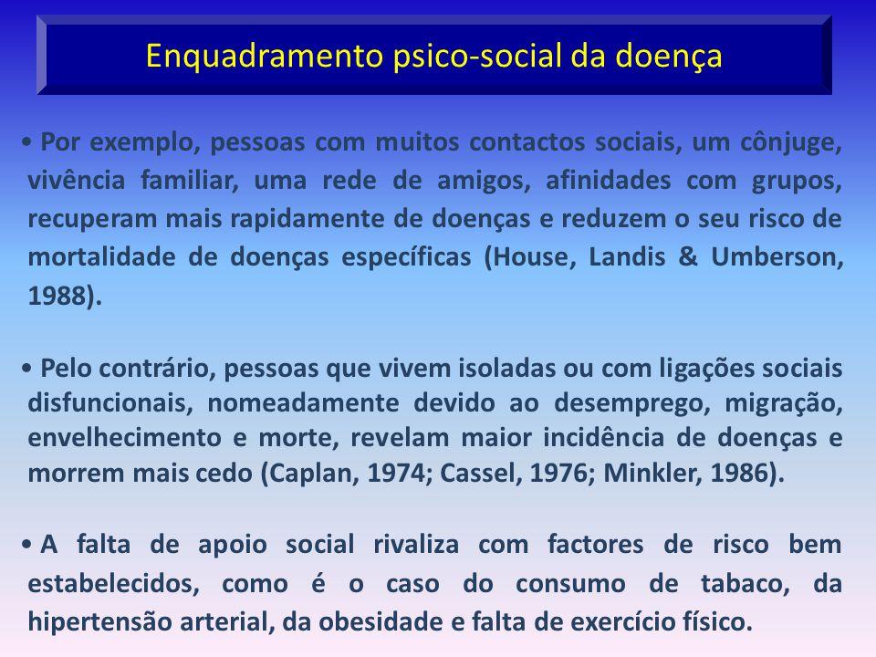 Enquadramento psico-social da doença Por exemplo, pessoas com muitos contactos sociais, um cônjuge, vivência familiar, uma rede de amigos, afinidades
