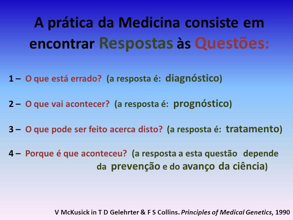 A prática da Medicina consiste em encontrar Respostas às Questões : 1 – O que está errado? (a resposta é: diagnóstico ) 2 – O que vai acontecer? (a re