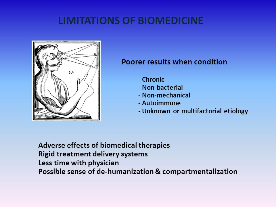 LIMITATIONS OF BIOMEDICINE Poorer results when condition - Chronic - Non-bacterial - Non-mechanical - Autoimmune - Unknown or multifactorial etiology