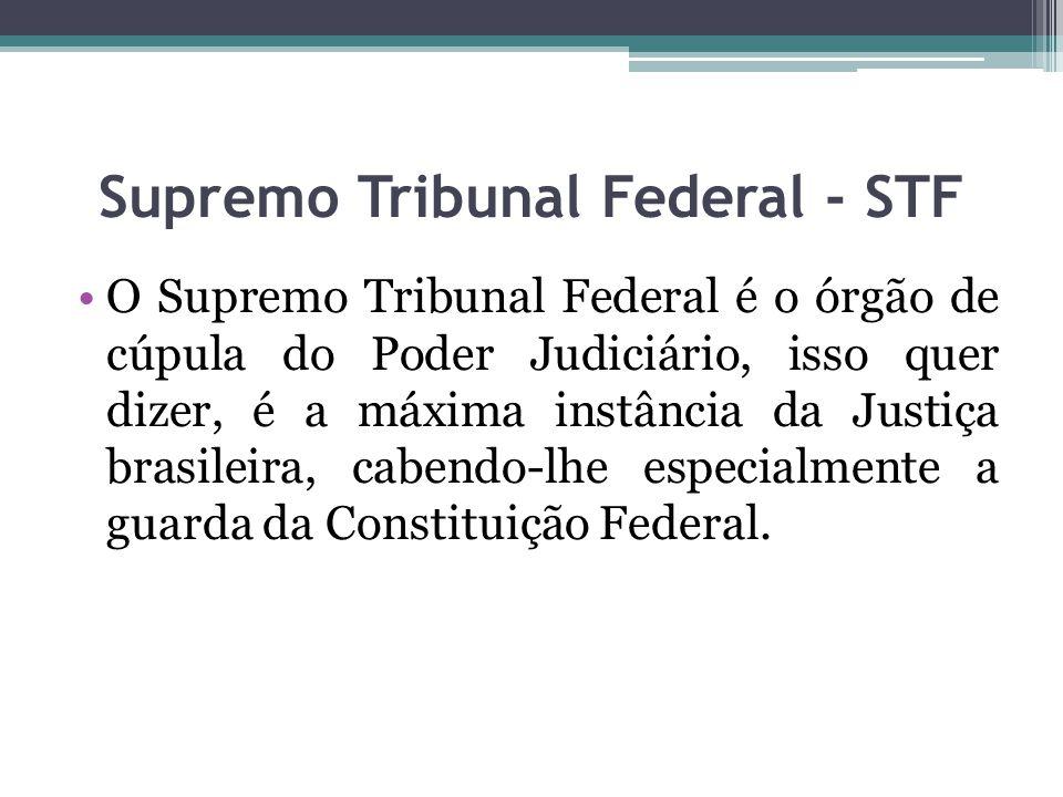 Supremo Tribunal Federal - STF O Supremo Tribunal Federal é o órgão de cúpula do Poder Judiciário, isso quer dizer, é a máxima instância da Justiça br