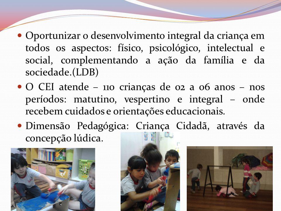 Oportunizar o desenvolvimento integral da criança em todos os aspectos: físico, psicológico, intelectual e social, complementando a ação da família e