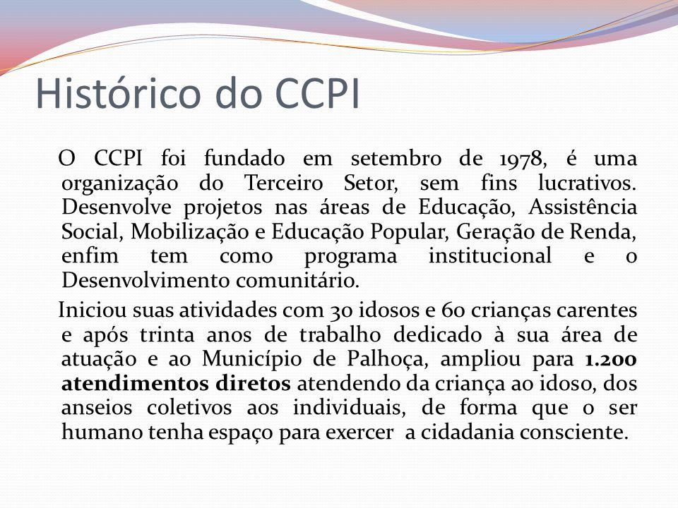 Histórico do CCPI O CCPI foi fundado em setembro de 1978, é uma organização do Terceiro Setor, sem fins lucrativos. Desenvolve projetos nas áreas de E