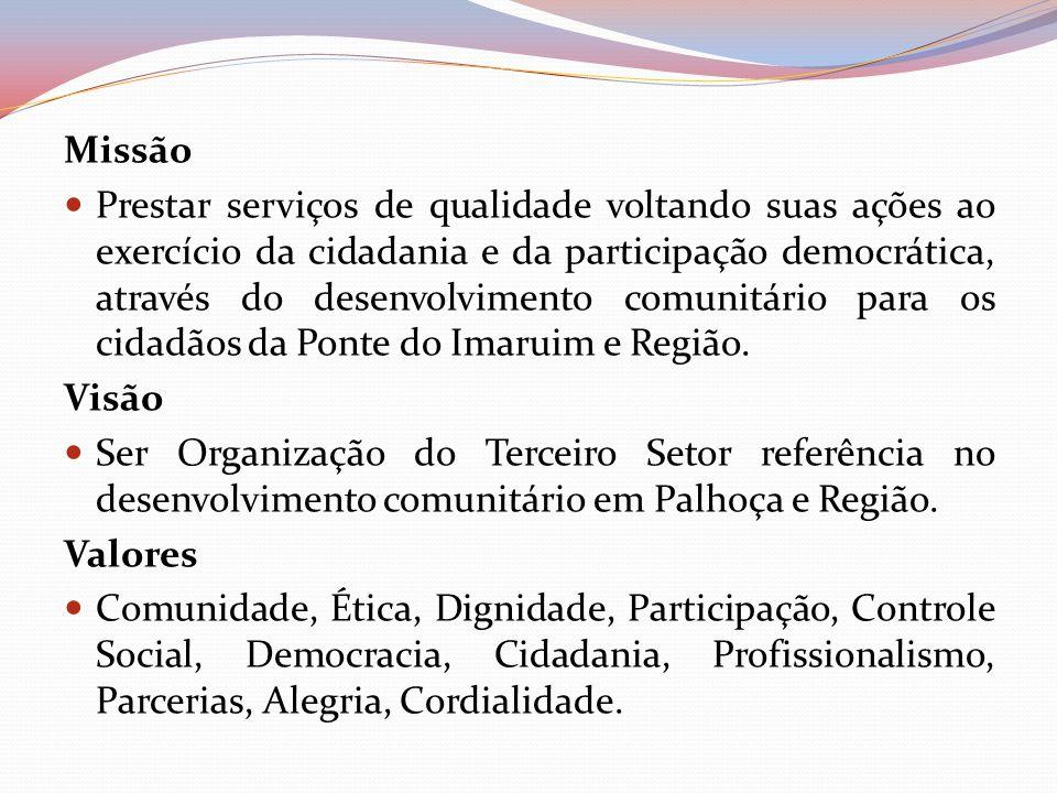 Missão Prestar serviços de qualidade voltando suas ações ao exercício da cidadania e da participação democrática, através do desenvolvimento comunitár