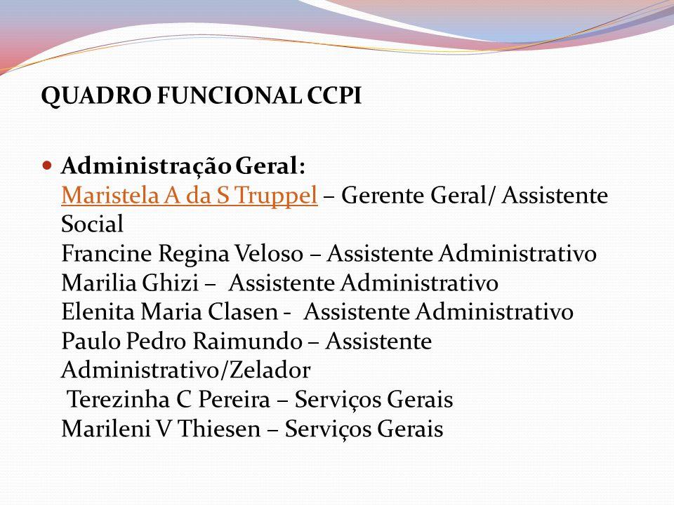 QUADRO FUNCIONAL CCPI Administração Geral: Maristela A da S Truppel – Gerente Geral/ Assistente Social Francine Regina Veloso – Assistente Administrat