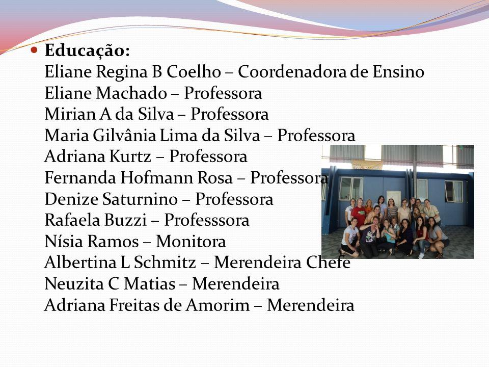 Educação: Eliane Regina B Coelho – Coordenadora de Ensino Eliane Machado – Professora Mirian A da Silva – Professora Maria Gilvânia Lima da Silva – Pr