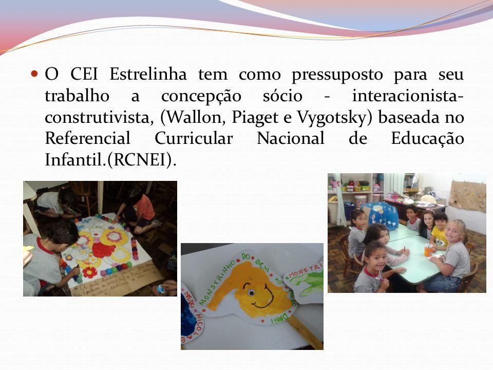 O CEI Estrelinha tem como pressuposto para seu trabalho a concepção sócio - interacionista- construtivista, (Wallon, Piaget e Vygotsky) baseada no Ref