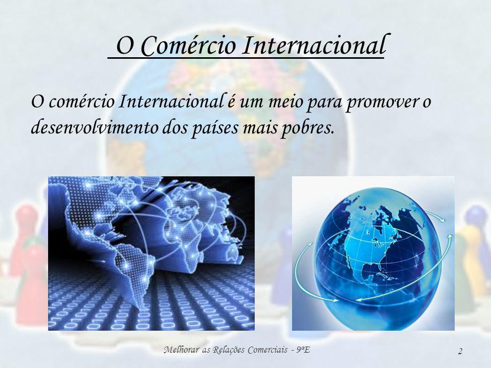 O Comércio Internacional O comércio Internacional é um meio para promover o desenvolvimento dos países mais pobres. Melhorar as Relações Comerciais -