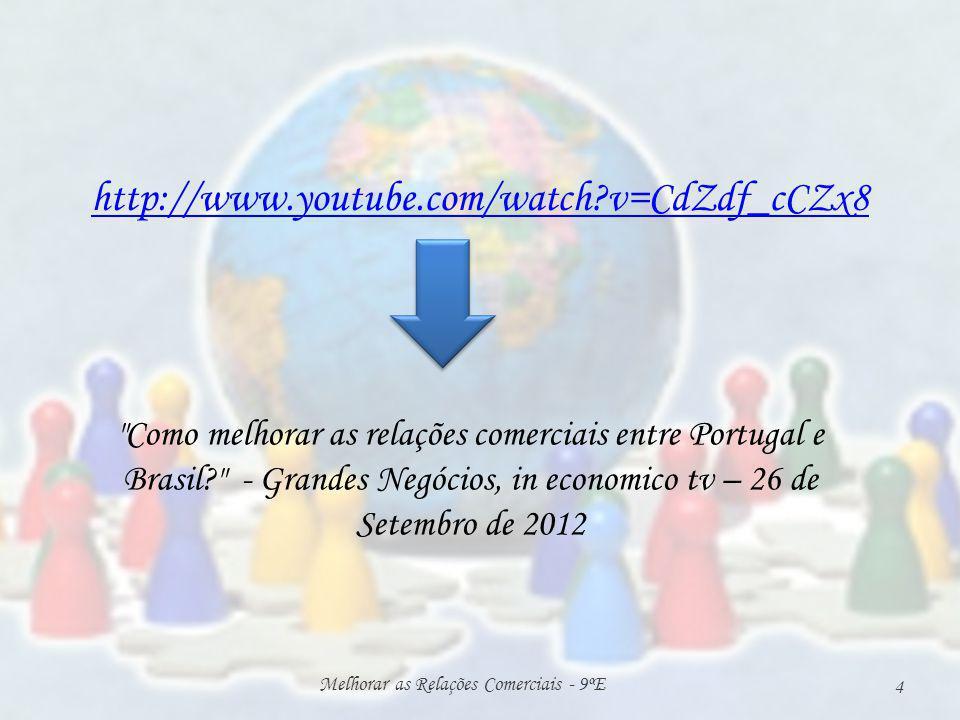 http://www.youtube.com/watch?v=CdZdf_cCZx8 Melhorar as Relações Comerciais - 9ºE 4 Como melhorar as relações comerciais entre Portugal e Brasil? - Grandes Negócios, in economico tv – 26 de Setembro de 2012