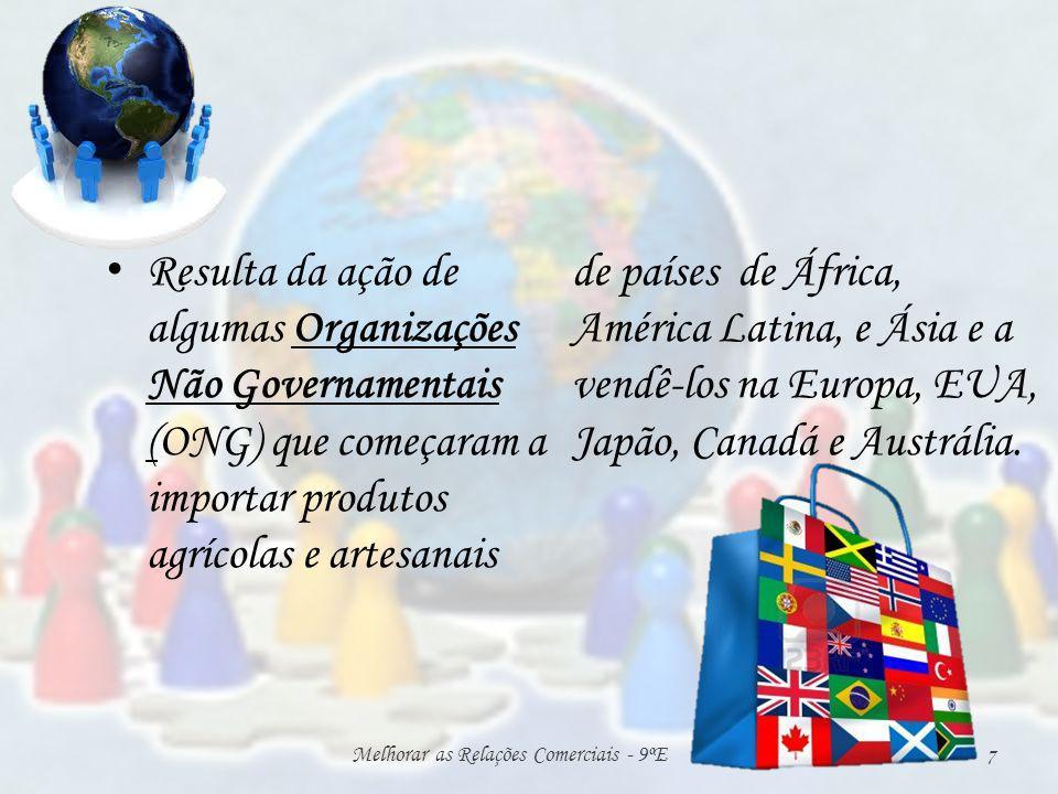 Resulta da ação de algumas Organizações Não Governamentais (ONG) que começaram a importar produtos agrícolas e artesanais de países de África, América Latina, e Ásia e a vendê-los na Europa, EUA, Japão, Canadá e Austrália.
