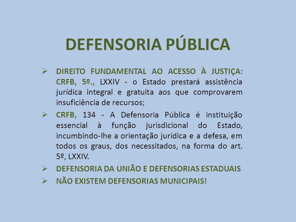 DEFENSORIA PÚBLICA DIREITO FUNDAMENTAL AO ACESSO À JUSTIÇA: CRFB, 5º., LXXIV - o Estado prestará assistência jurídica integral e gratuita aos que comp