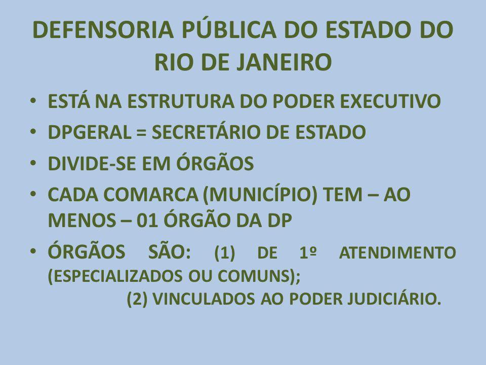 DEFENSORIA PÚBLICA DO ESTADO DO RIO DE JANEIRO ESTÁ NA ESTRUTURA DO PODER EXECUTIVO DPGERAL = SECRETÁRIO DE ESTADO DIVIDE-SE EM ÓRGÃOS CADA COMARCA (M