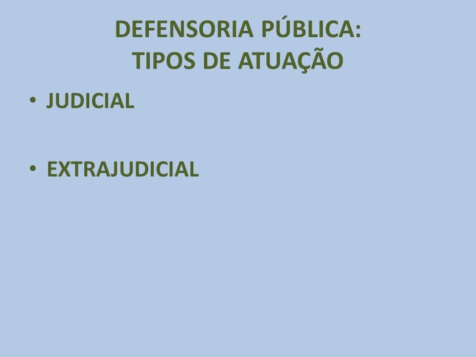 DEFENSORIA PÚBLICA: TIPOS DE ATUAÇÃO JUDICIAL EXTRAJUDICIAL