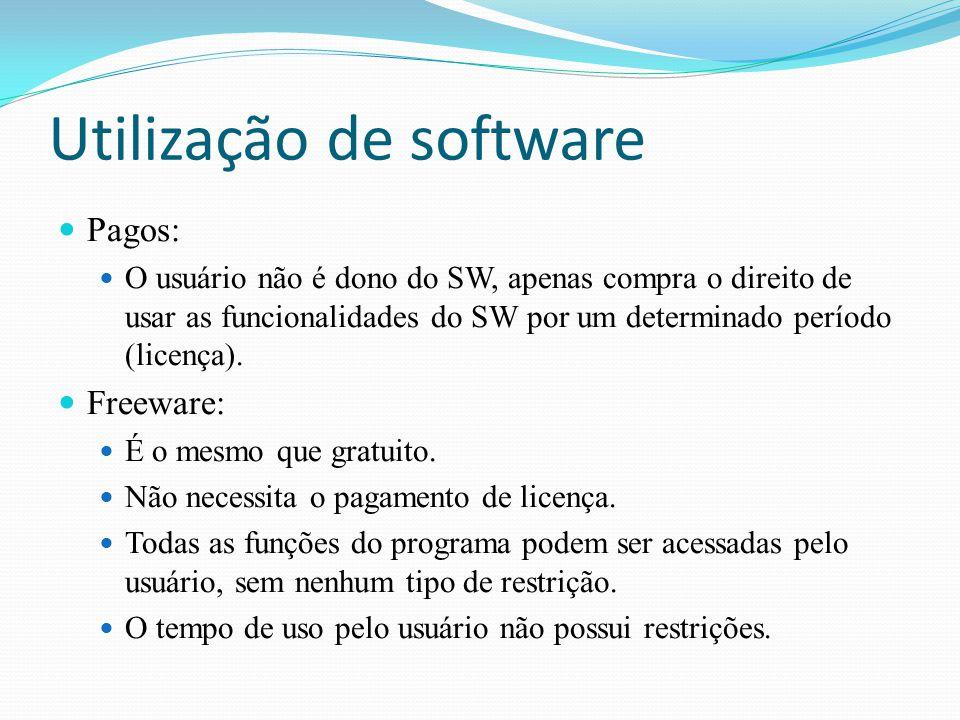 Utilização de software Pagos: O usuário não é dono do SW, apenas compra o direito de usar as funcionalidades do SW por um determinado período (licença