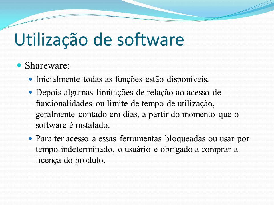 Utilização de software Shareware: Inicialmente todas as funções estão disponíveis. Depois algumas limitações de relação ao acesso de funcionalidades o