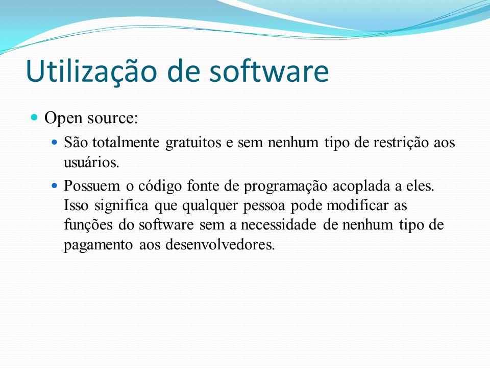 Utilização de software Open source: São totalmente gratuitos e sem nenhum tipo de restrição aos usuários. Possuem o código fonte de programação acopla