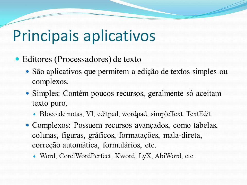 Principais aplicativos Editores (Processadores) de texto São aplicativos que permitem a edição de textos simples ou complexos. Simples: Contém poucos