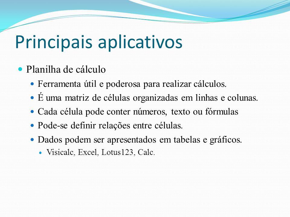 Principais aplicativos Planilha de cálculo Ferramenta útil e poderosa para realizar cálculos. É uma matriz de células organizadas em linhas e colunas.