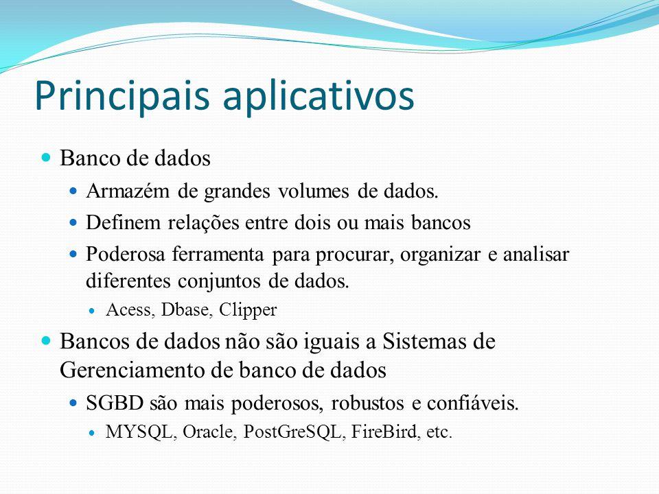 Principais aplicativos Banco de dados Armazém de grandes volumes de dados. Definem relações entre dois ou mais bancos Poderosa ferramenta para procura