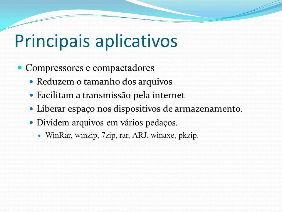 Principais aplicativos Compressores e compactadores Reduzem o tamanho dos arquivos Facilitam a transmissão pela internet Liberar espaço nos dispositiv