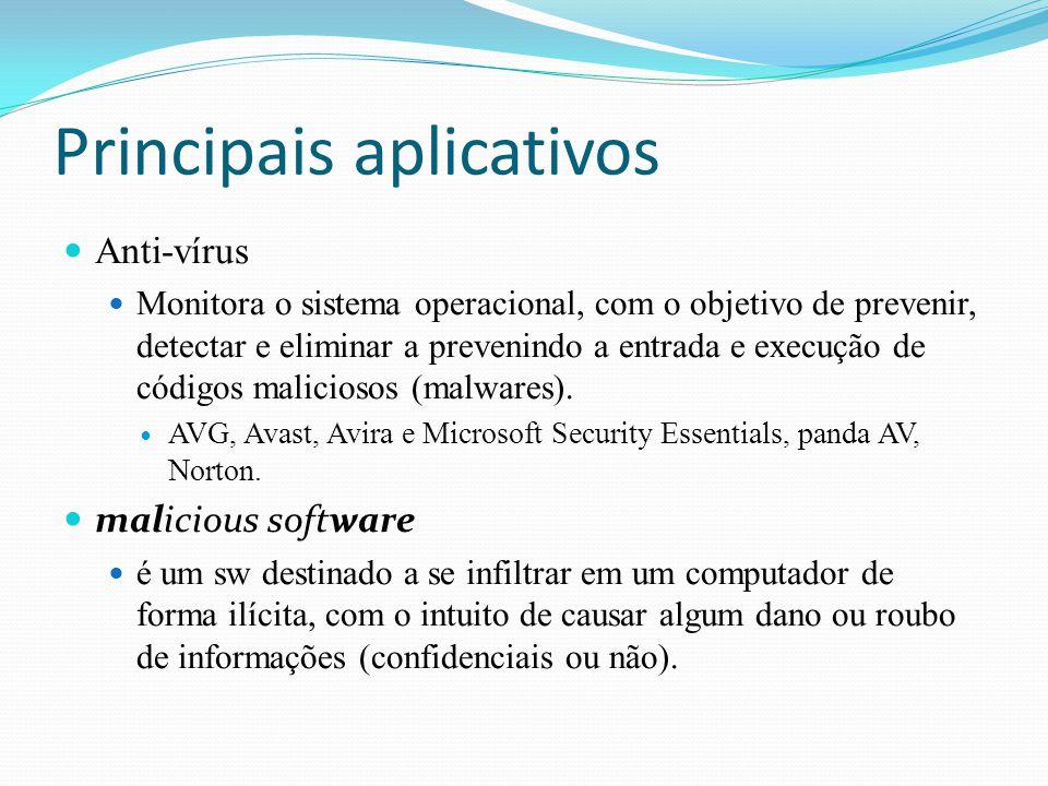 Principais aplicativos Anti-vírus Monitora o sistema operacional, com o objetivo de prevenir, detectar e eliminar a prevenindo a entrada e execução de