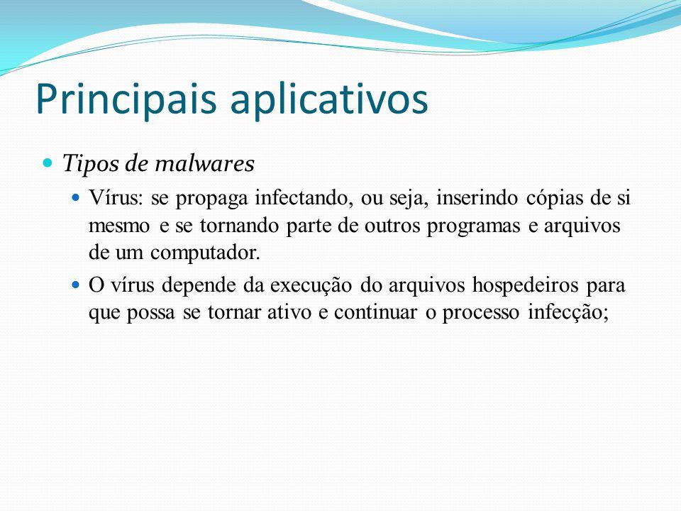Principais aplicativos Tipos de malwares Vírus: se propaga infectando, ou seja, inserindo cópias de si mesmo e se tornando parte de outros programas e