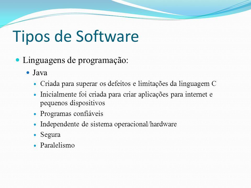 Tipos de Software Linguagens de programação: Java Criada para superar os defeitos e limitações da linguagem C Inicialmente foi criada para criar aplic