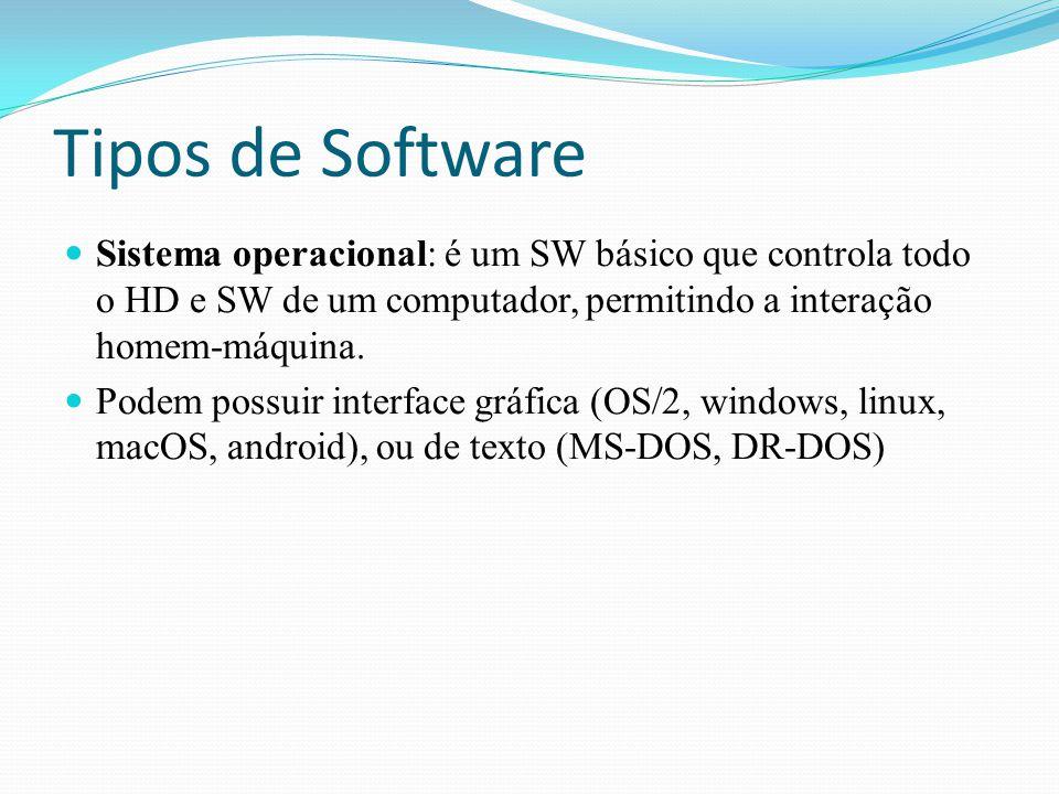 Tipos de Software Sistema operacional: é um SW básico que controla todo o HD e SW de um computador, permitindo a interação homem-máquina. Podem possui