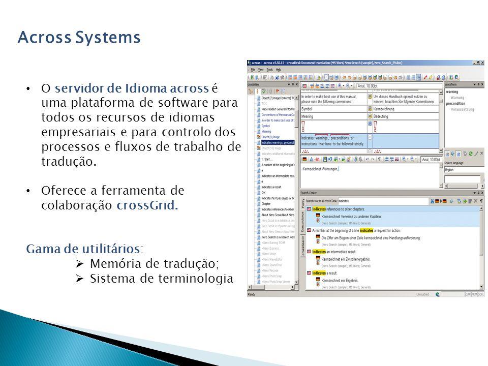 Across Systems O servidor de Idioma across é uma plataforma de software para todos os recursos de idiomas empresariais e para controlo dos processos e fluxos de trabalho de tradução.