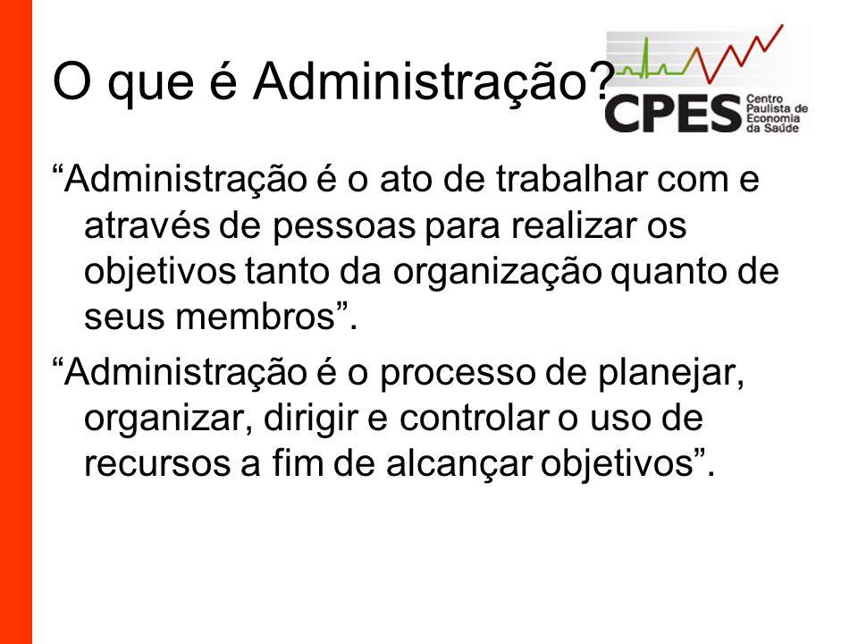 O que é Administração? Administração é o ato de trabalhar com e através de pessoas para realizar os objetivos tanto da organização quanto de seus memb