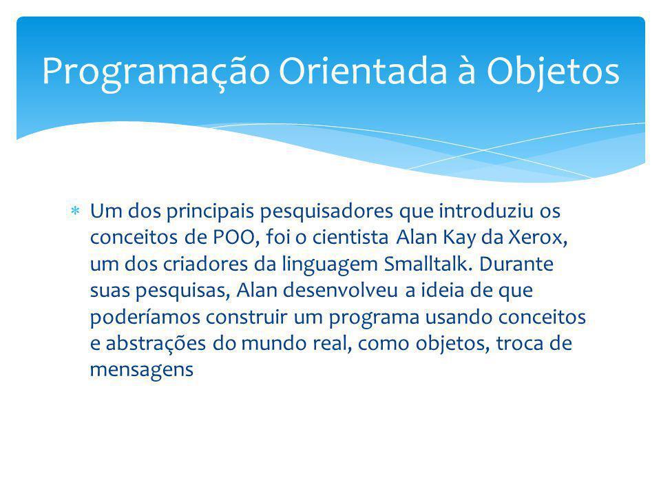 Um dos principais pesquisadores que introduziu os conceitos de POO, foi o cientista Alan Kay da Xerox, um dos criadores da linguagem Smalltalk. Durant