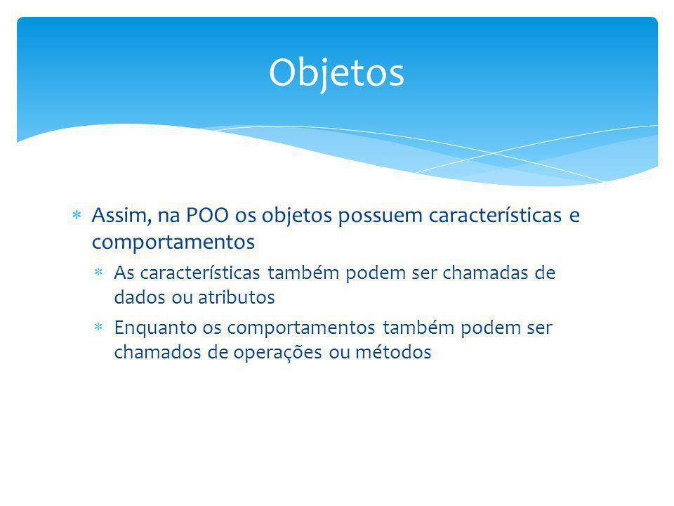 Assim, na POO os objetos possuem características e comportamentos As características também podem ser chamadas de dados ou atributos Enquanto os compo