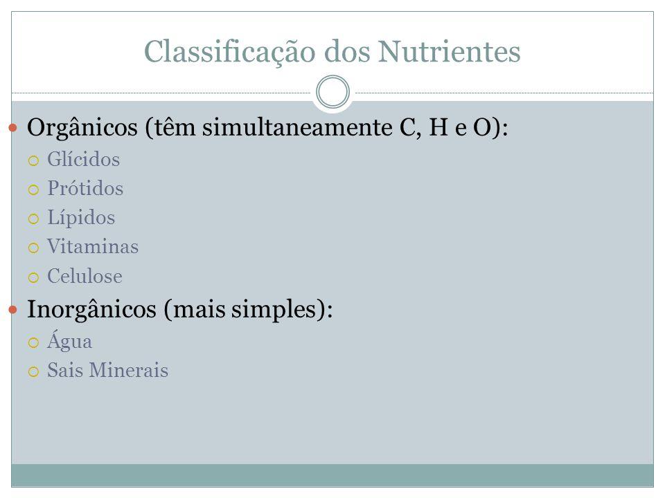 Classificação dos Nutrientes Orgânicos (têm simultaneamente C, H e O): Glícidos Prótidos Lípidos Vitaminas Celulose Inorgânicos (mais simples): Água S