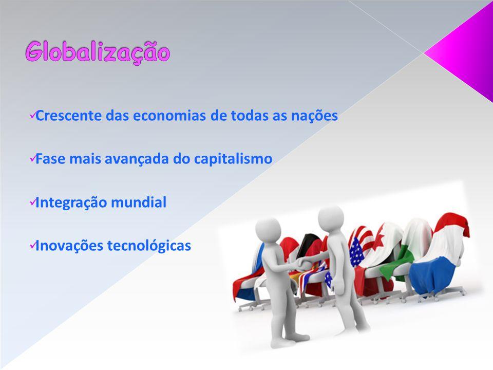 Crescente das economias de todas as nações Fase mais avançada do capitalismo Integração mundial Inovações tecnológicas