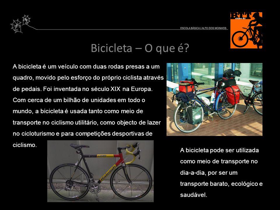 Bicicleta – O que é? A bicicleta é um veículo com duas rodas presas a um quadro, movido pelo esforço do próprio ciclista através de pedais. Foi invent