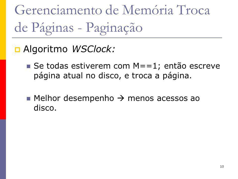 10 Gerenciamento de Memória Troca de Páginas - Paginação Algoritmo WSClock: Se todas estiverem com M==1; então escreve página atual no disco, e troca a página.